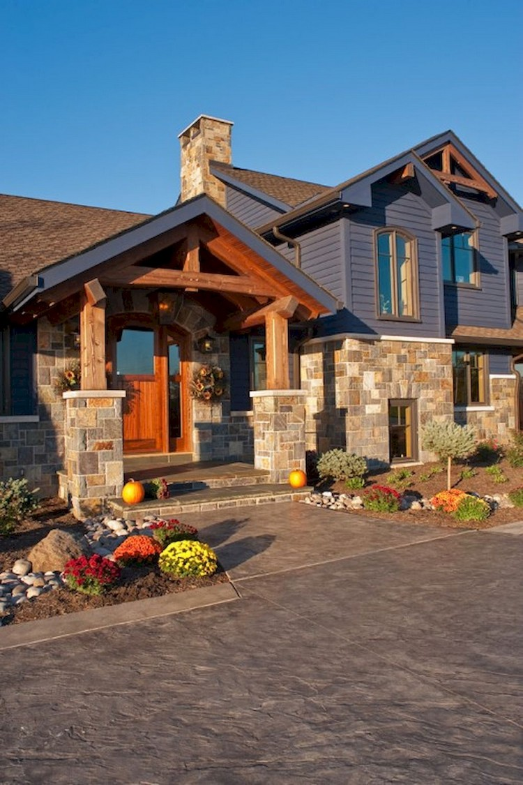 Elegant Wooden And Stone Front Porch Ideas